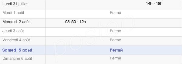 horaires d'ouverture de la Mairie De Sainte-Colombe