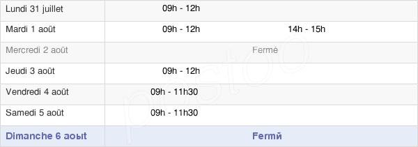 horaires d'ouverture de la Mairie De Chapelle-Des-Bois