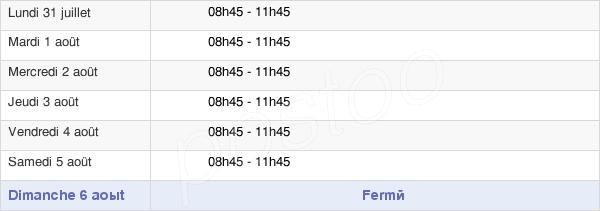 horaires d'ouverture de la Mairie De Morre