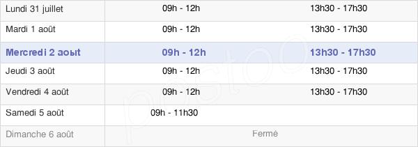horaires d'ouverture de la Mairie D'Audincourt