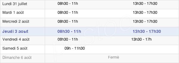 horaires d'ouverture de la Mairie De Fesches-Le-Châtel