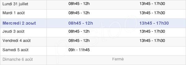 horaires d'ouverture de la Mairie De Thise