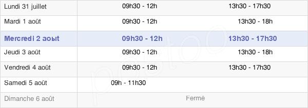 horaires d'ouverture de la Mairie De Mandeure
