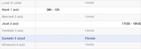 horaires d'ouverture de la Mairie De La Chevillotte