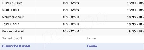 horaires d'ouverture de la Mairie De Brouilla