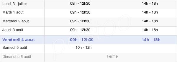 horaires d'ouverture de la Mairie De Saint-Jory