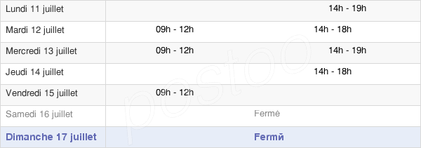 horaires d'ouverture de la Mairie De Saulce