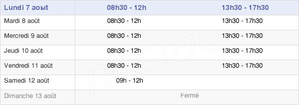 horaires d'ouverture de la Mairie De Bourg Saint Andéol