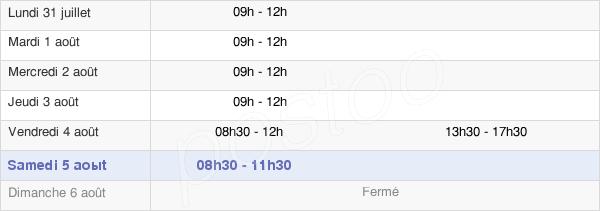 horaires d'ouverture de la Mairie De Cruas