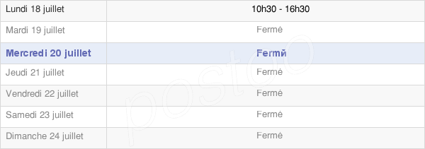 horaires d'ouverture de la Mairie De Loubaresse