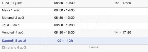 horaires d'ouverture de la Mairie De Liré