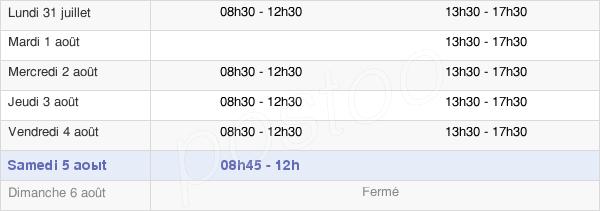horaires d'ouverture de la Mairie De Pouancé