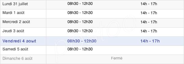 horaires d'ouverture de la Mairie De Carbonne
