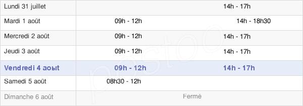 horaires d'ouverture de la Mairie De Saint-Sylvain-D'Anjou