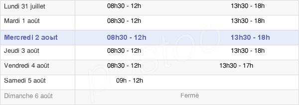 horaires d'ouverture de la Mairie De Doué-La-Fontaine