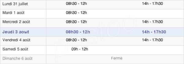 horaires d'ouverture de la Mairie De Bessières