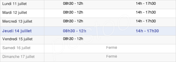 horaires d'ouverture de la Mairie D'Orleix