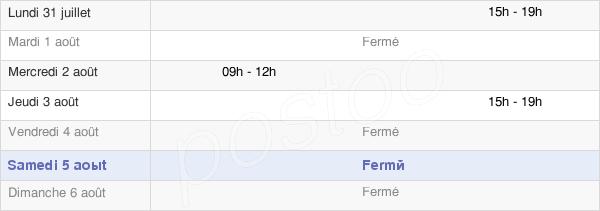 horaires d'ouverture de la Mairie De Lafitole
