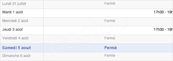 horaires d'ouverture de la Mairie De Cromary