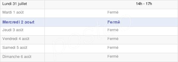 horaires d'ouverture de la Mairie De Valmigère