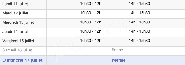 horaires d'ouverture de la Mairie De Villedaigne
