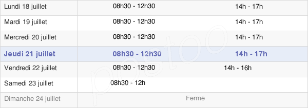 horaires d'ouverture de la Mairie De Chateauneuf Le Rouge