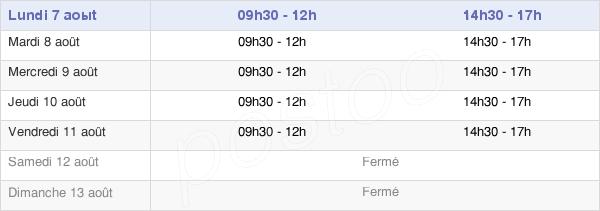 horaires d'ouverture de la Mairie De La Palme