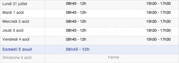 horaires d'ouverture de la Mairie De Gréasque