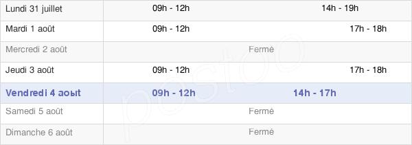 horaires d'ouverture de la Mairie De Pieusse