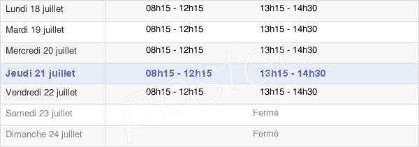horaires d'ouverture de la Mairie De Pezens