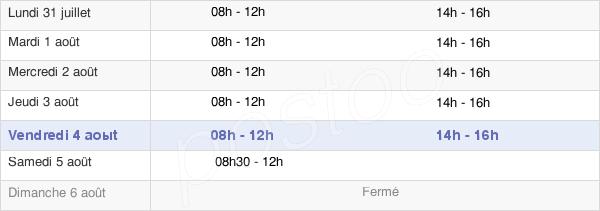 horaires d'ouverture de la Mairie De Seurre