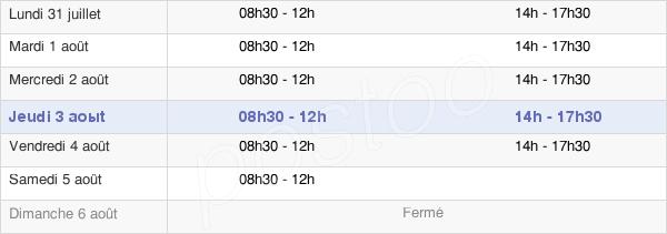 horaires d'ouverture de la Mairie De Montbard