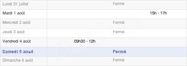 horaires d'ouverture de la Mairie De Saint-Seine-En-Bâche