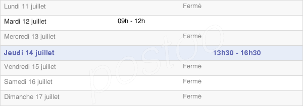 horaires d'ouverture de la Mairie De Tarsul