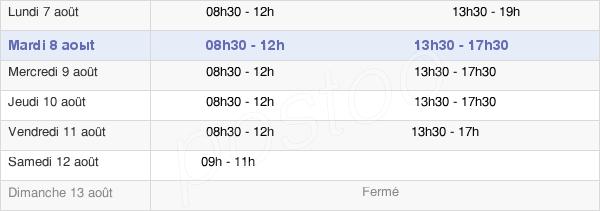 horaires d'ouverture de la Mairie De Rognonas