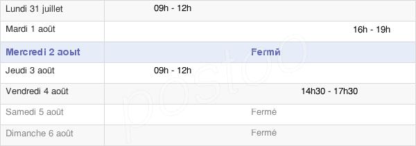 horaires d'ouverture de la Mairie De Bellefond