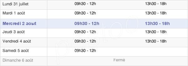 horaires d'ouverture de la Mairie De Gevrey-Chambertin