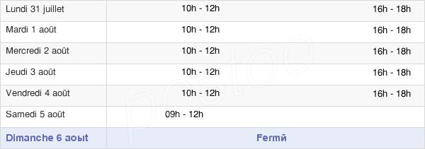 horaires d'ouverture de la Mairie De Selongey