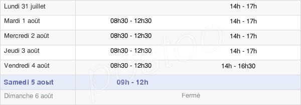 horaires d'ouverture de la Mairie De Saint-Méen-Le-Grand