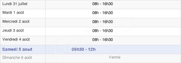 horaires d'ouverture de la Mairie De Bouc-Bel-Air