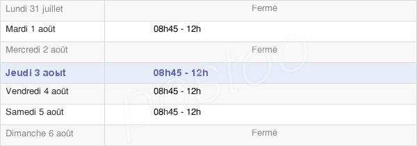 horaires d'ouverture de la Mairie De Saint-Ganton
