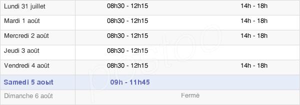 horaires d'ouverture de la Mairie De Talensac