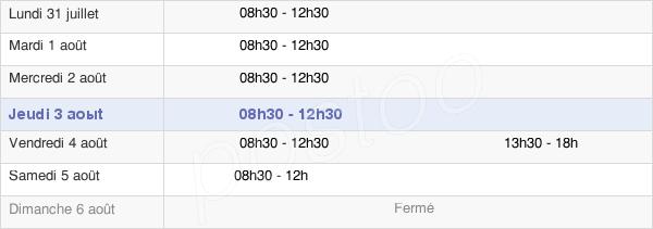horaires d'ouverture de la Mairie De Beaucé