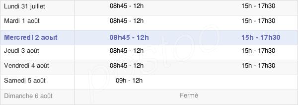 horaires d'ouverture de la Mairie De Saint-Aubin-D'Aubigné