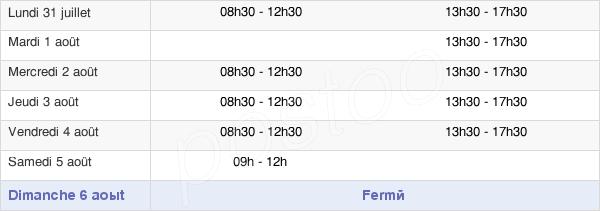 horaires d'ouverture de la Mairie De Melesse