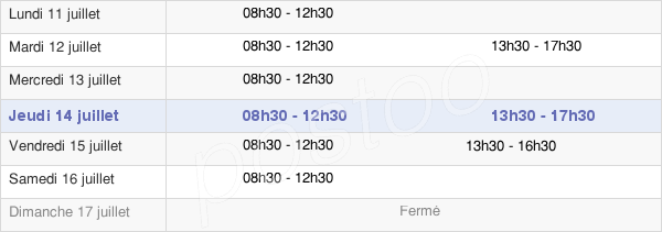 horaires d'ouverture de la Mairie De Renac