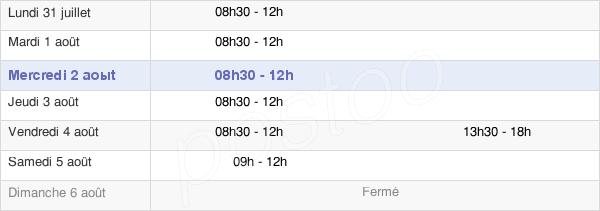 horaires d'ouverture de la Mairie De Taillis