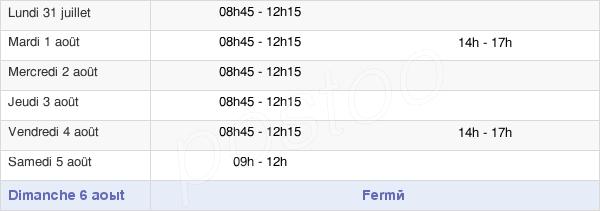 horaires d'ouverture de la Mairie De Balazé