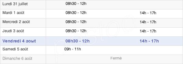 horaires d'ouverture de la Mairie De Messac