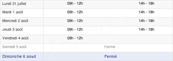 horaires d'ouverture de la Mairie De Causses-Et-Veyran